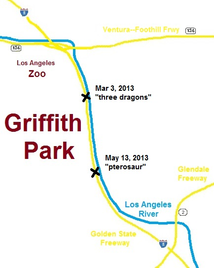 map of freeways and river at the eastern side of Griffith Park in Los Angeles, showing locations of pterosaur sightings in 2013