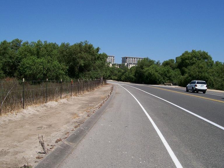 looking north on the road just north of California State University at Irvine. Here a huge long-tailed pterosaur flew in mid-2007.