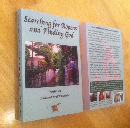 """front and back covers of the paperback book """"Searching for Ropens and Finding God"""" (3rd edition)"""